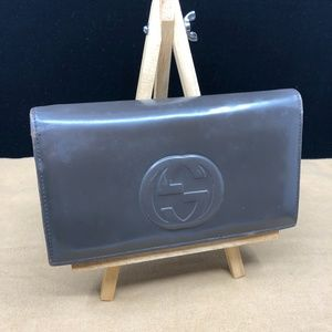 GG183 GG Leather Long Wallet